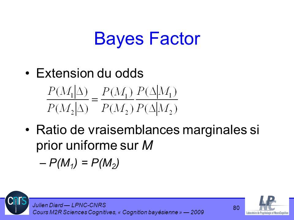 Bayes Factor Extension du odds