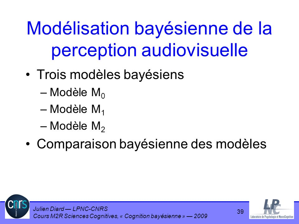 Modélisation bayésienne de la perception audiovisuelle