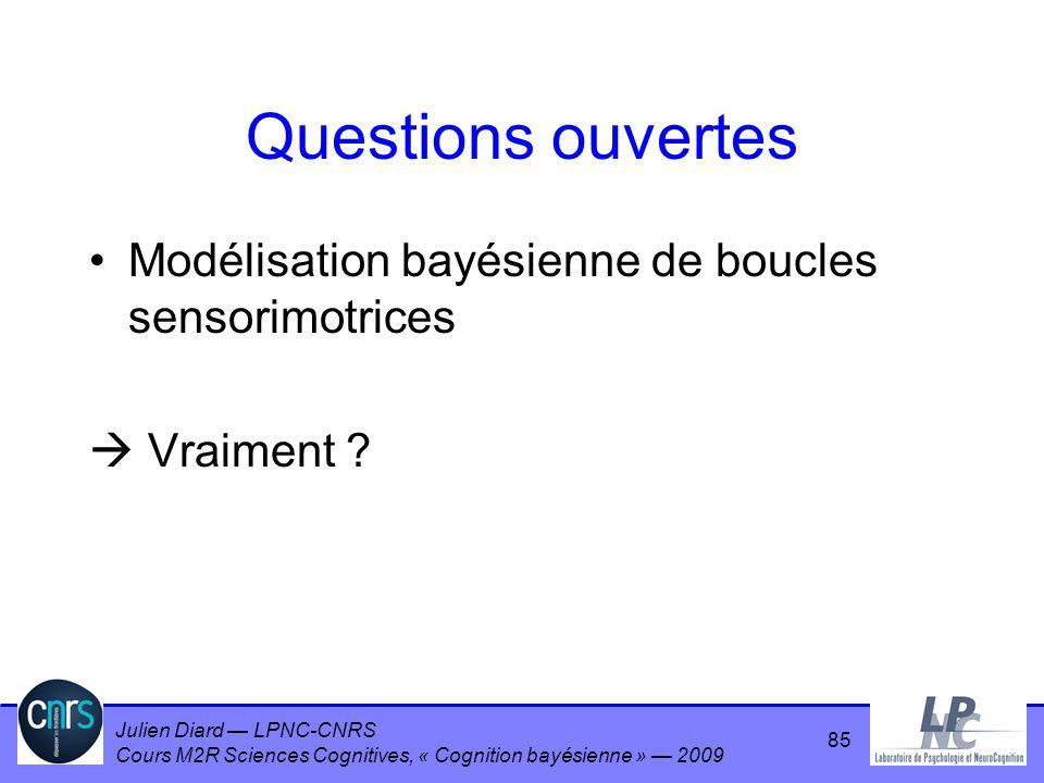 Questions ouvertes Modélisation bayésienne de boucles sensorimotrices