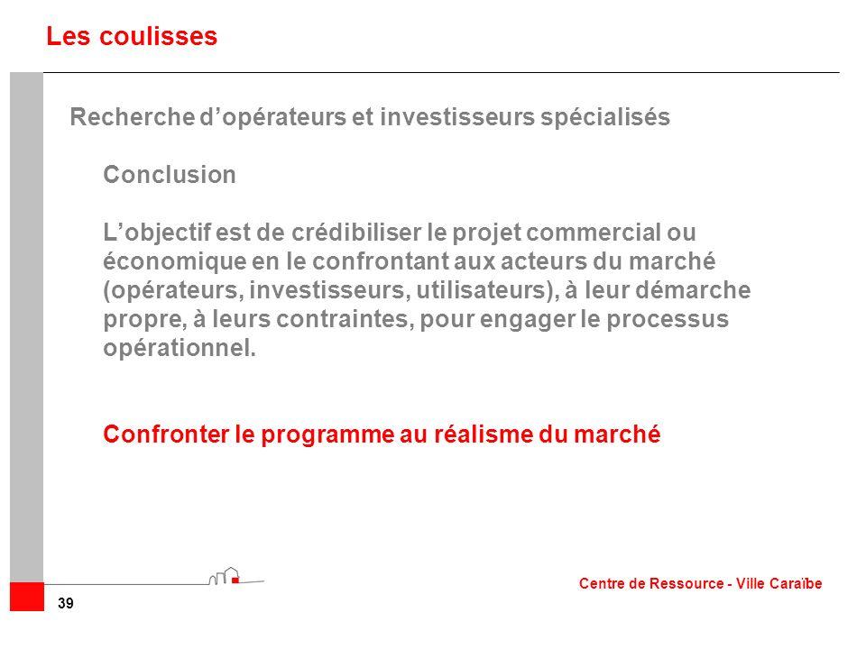 Les coulisses Recherche d'opérateurs et investisseurs spécialisés
