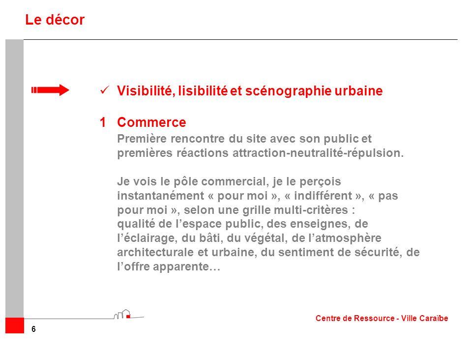 Le décor Visibilité, lisibilité et scénographie urbaine Commerce