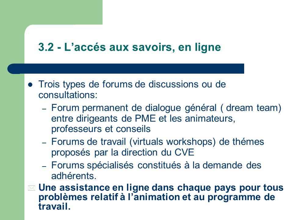 3.2 - L'accés aux savoirs, en ligne
