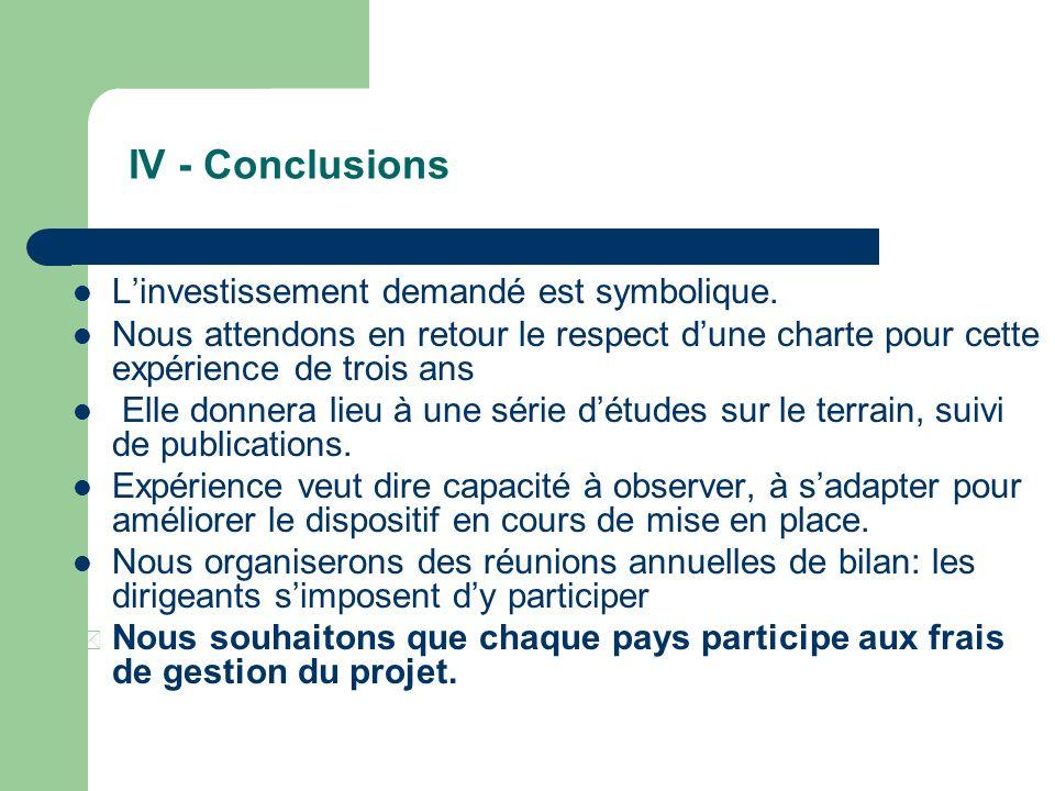 IV - Conclusions L'investissement demandé est symbolique.