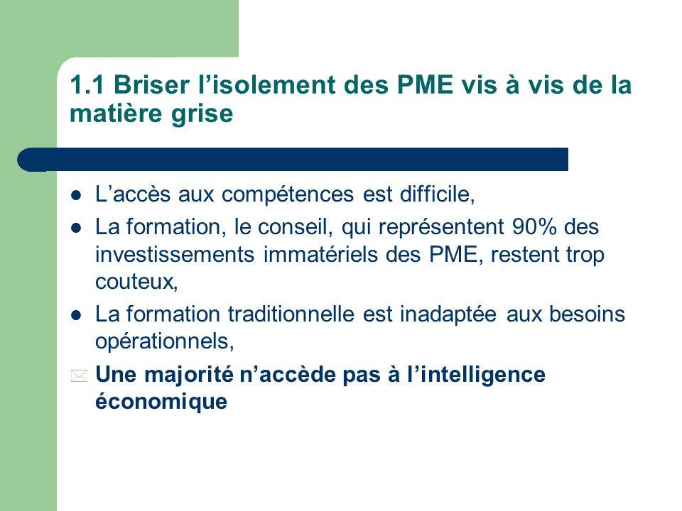 1.1 Briser l'isolement des PME vis à vis de la matière grise