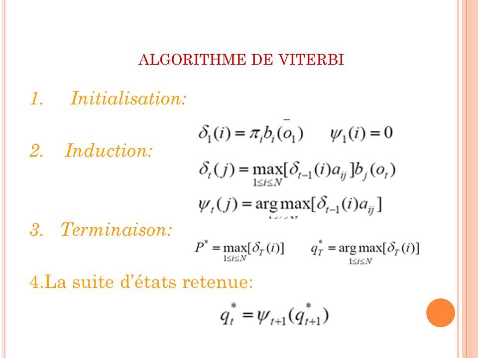 algorithme de viterbi 1. Initialisation: 2. Induction: 3.
