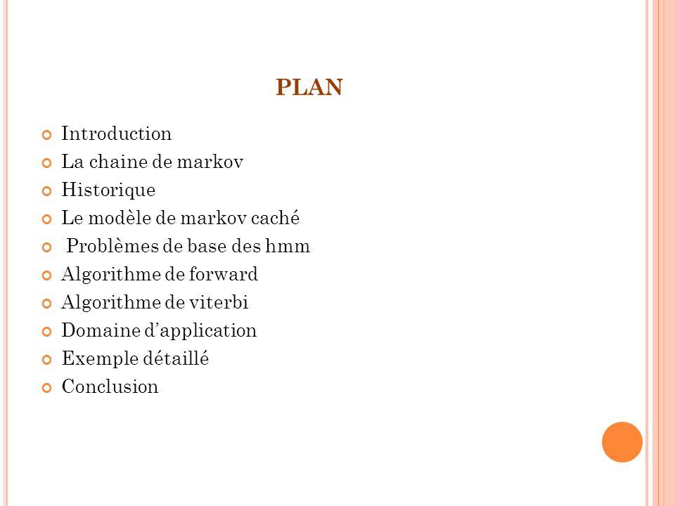 plan Introduction La chaine de markov Historique