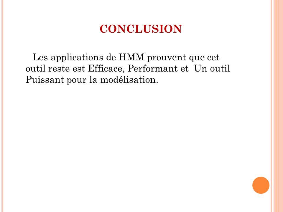 CONCLUSION Les applications de HMM prouvent que cet outil reste est Efficace, Performant et Un outil Puissant pour la modélisation.