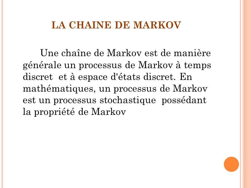 LA CHAINE DE MARKOV