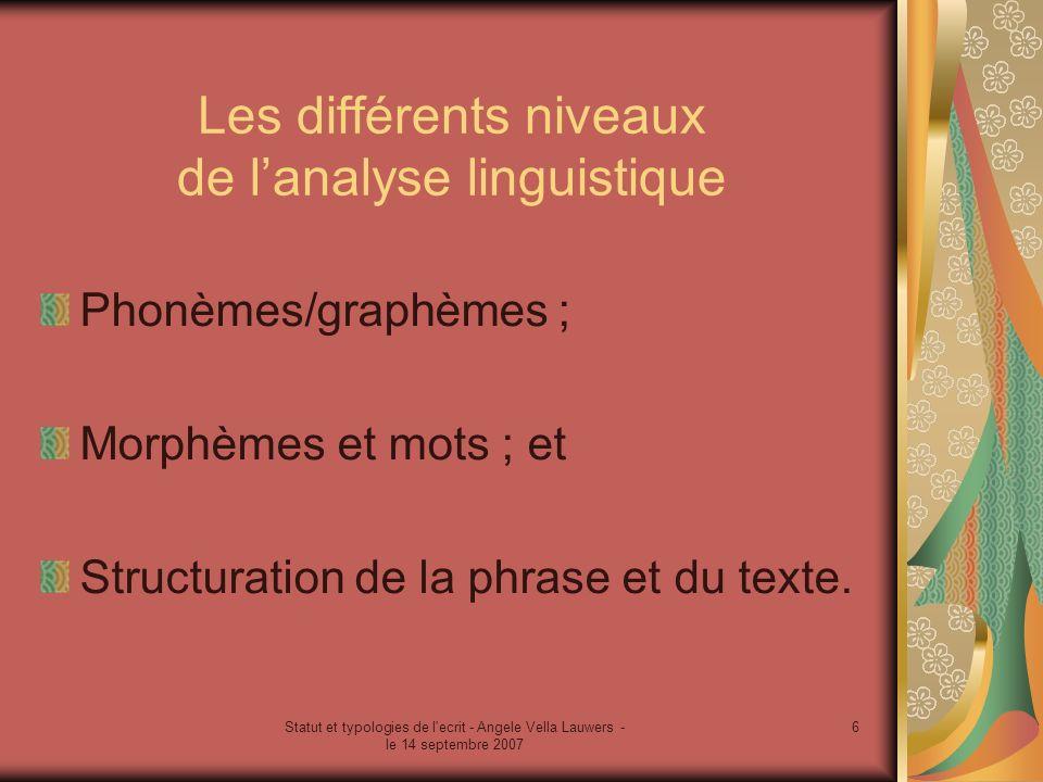 Les différents niveaux de l'analyse linguistique