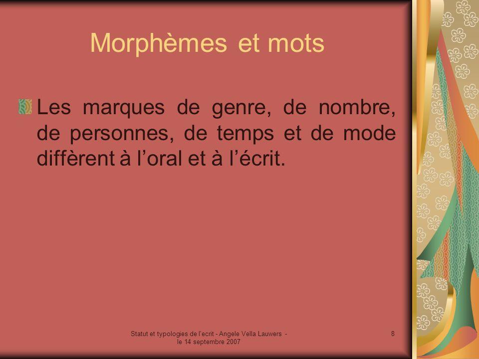 Morphèmes et mots Les marques de genre, de nombre, de personnes, de temps et de mode diffèrent à l'oral et à l'écrit.