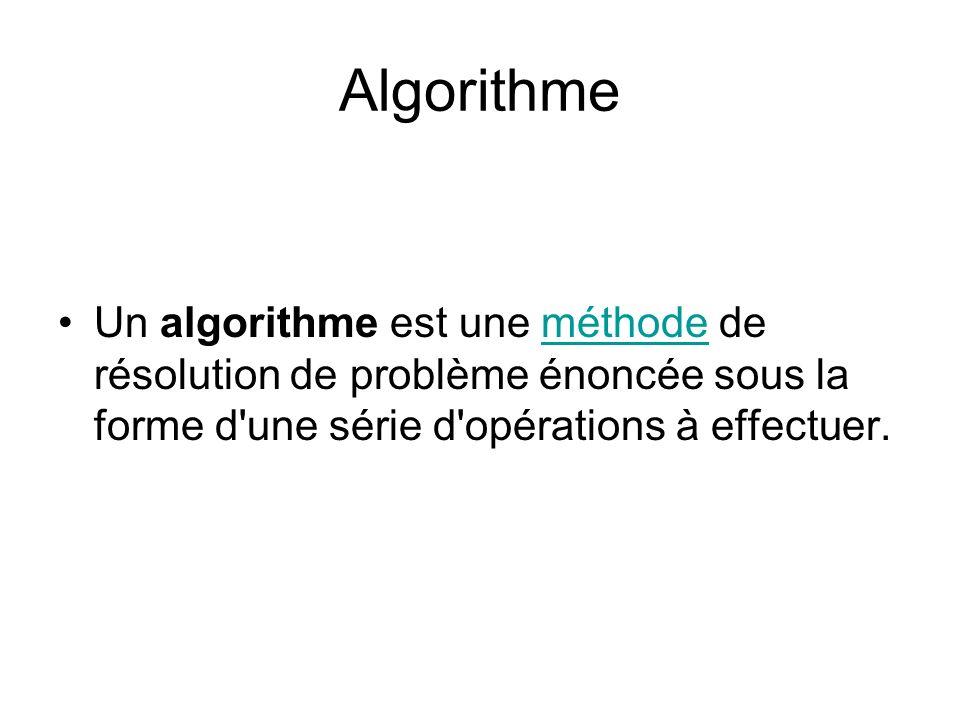 Algorithme Un algorithme est une méthode de résolution de problème énoncée sous la forme d une série d opérations à effectuer.