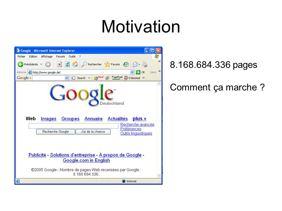 Motivation 8.168.684.336 pages Comment ça marche