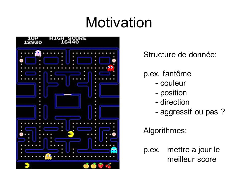 Motivation Structure de donnée: p.ex. fantôme couleur position