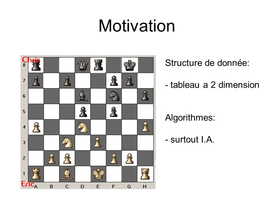 Motivation Structure de donnée: - tableau a 2 dimension Algorithmes: