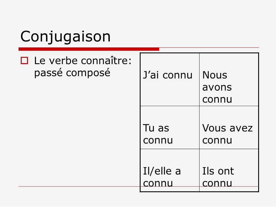Conjugaison Le verbe connaître: passé composé J'ai connu