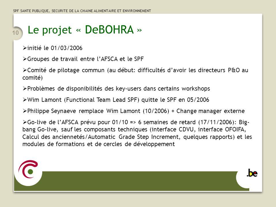 Le projet « DeBOHRA » initié le 01/03/2006