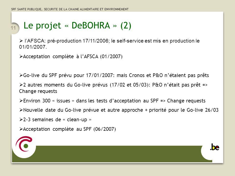 Le projet « DeBOHRA » (2) l'AFSCA: pré-production 17/11/2006; le self-service est mis en production le 01/01/2007.
