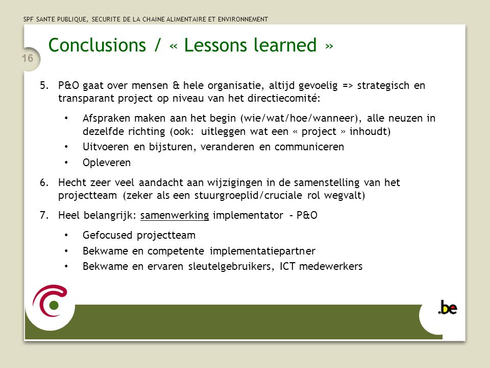 Conclusions / « Lessons learned »