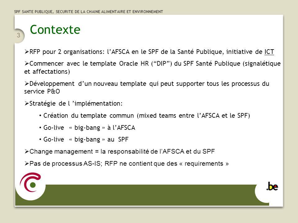 Contexte RFP pour 2 organisations: l'AFSCA en le SPF de la Santé Publique, initiative de ICT.