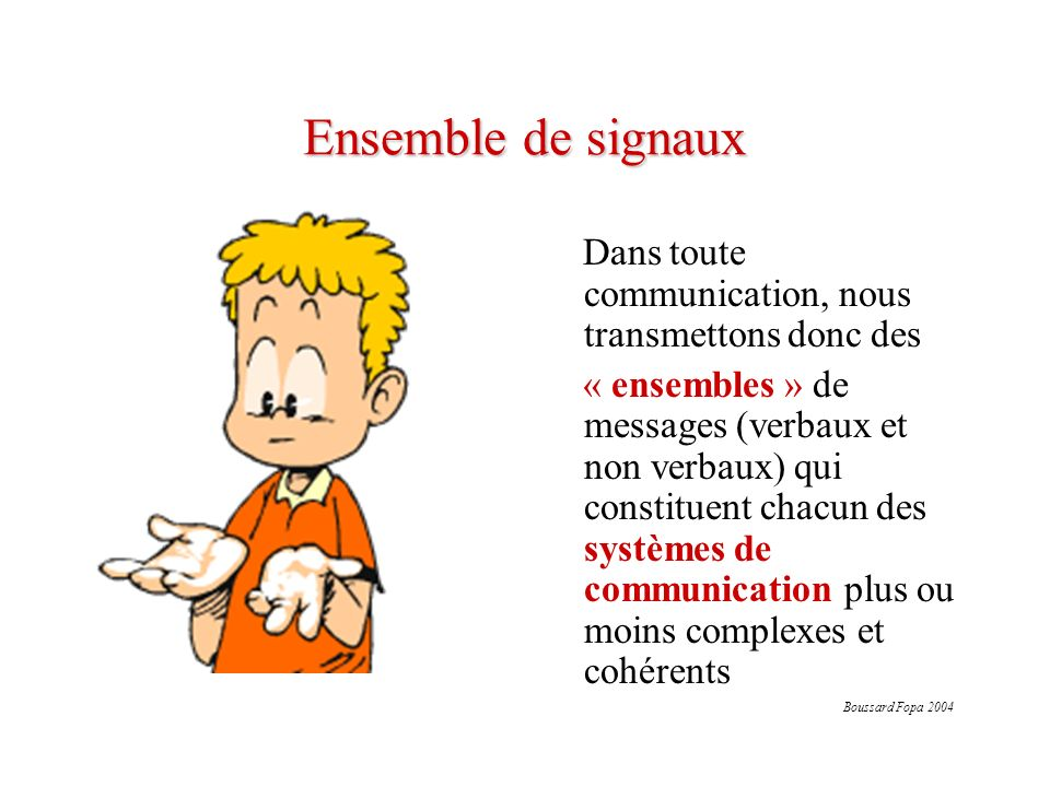 Ensemble de signaux Dans toute communication, nous transmettons donc des.