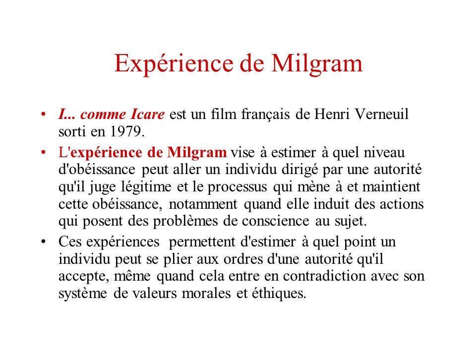 Expérience de MilgramI... comme Icare est un film français de Henri Verneuil sorti en 1979.