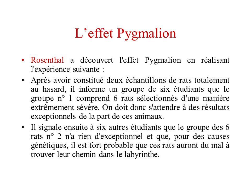 L'effet Pygmalion Rosenthal a découvert l effet Pygmalion en réalisant l expérience suivante :