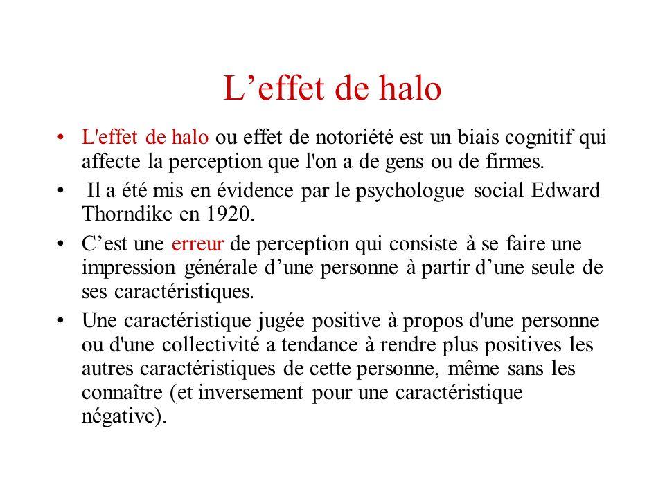 L'effet de halo L effet de halo ou effet de notoriété est un biais cognitif qui affecte la perception que l on a de gens ou de firmes.