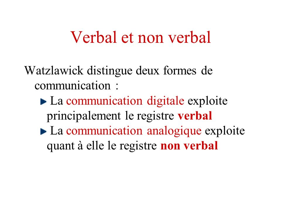 Verbal et non verbal Watzlawick distingue deux formes de communication : La communication digitale exploite principalement le registre verbal.