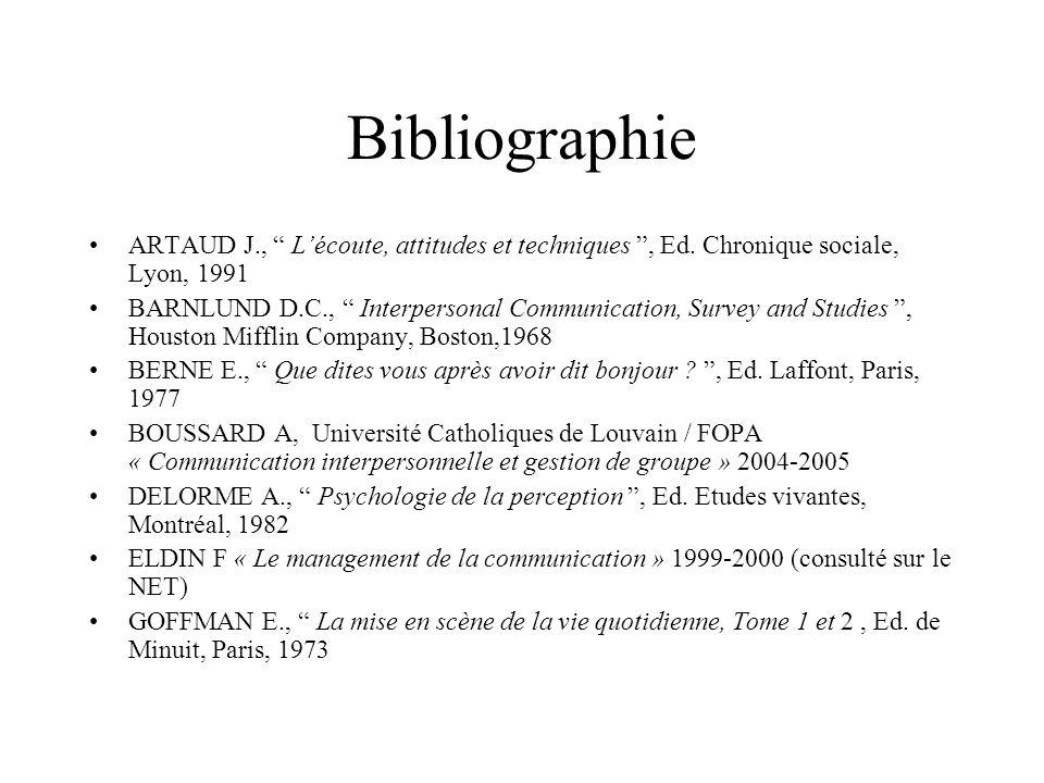 BibliographieARTAUD J., L'écoute, attitudes et techniques , Ed. Chronique sociale, Lyon, 1991.
