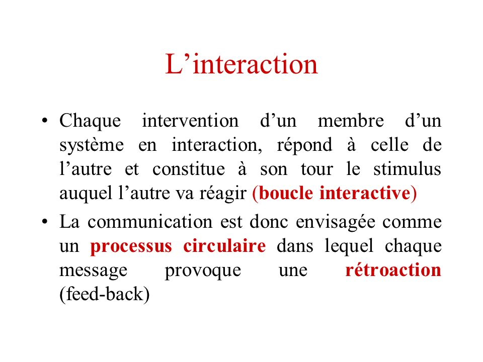 L'interaction