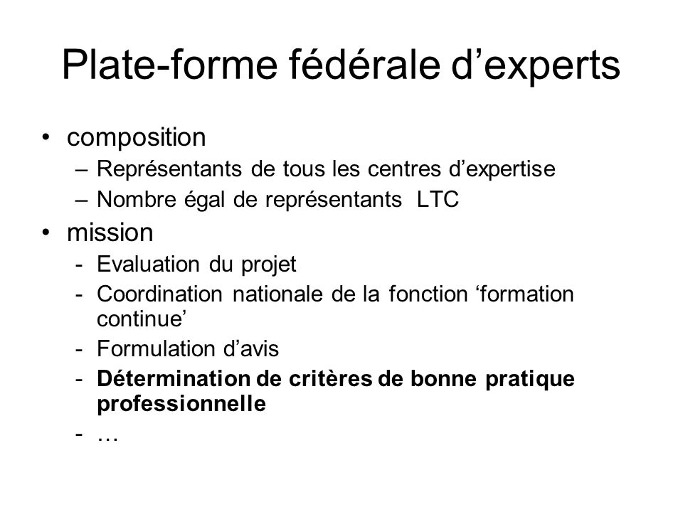 Plate-forme fédérale d'experts
