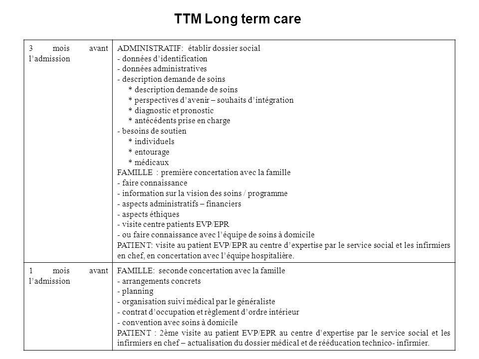 TTM Long term care 3 mois avant l'admission