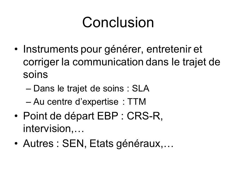 Conclusion Instruments pour générer, entretenir et corriger la communication dans le trajet de soins.