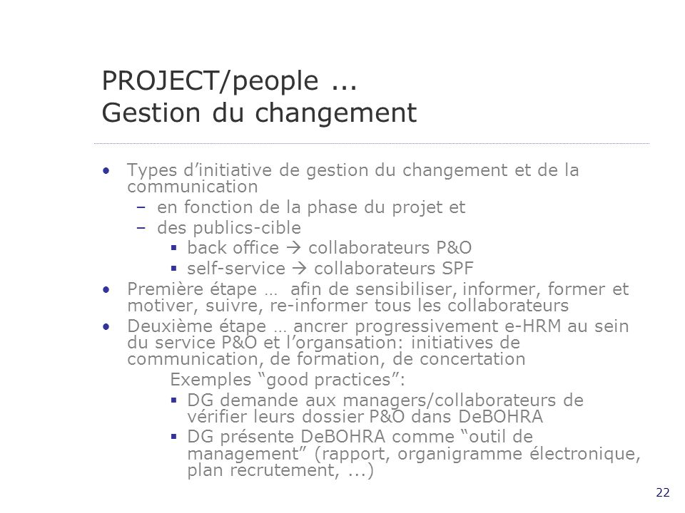 PROJECT/people ... Gestion du changement