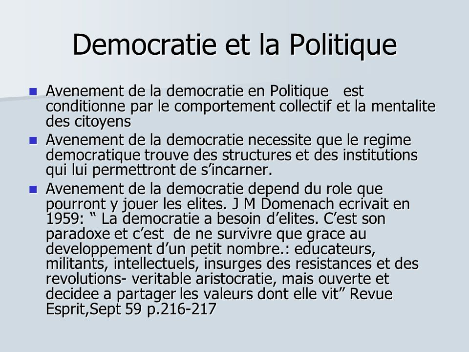 Democratie et la Politique