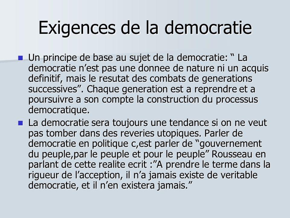 Exigences de la democratie