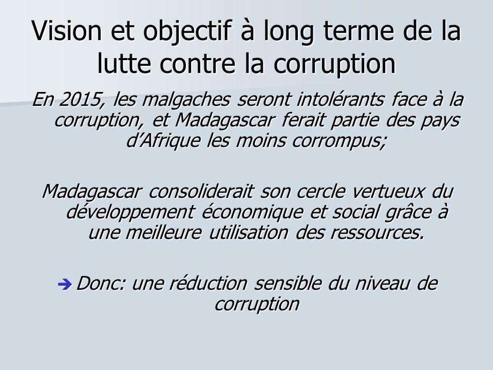 Vision et objectif à long terme de la lutte contre la corruption