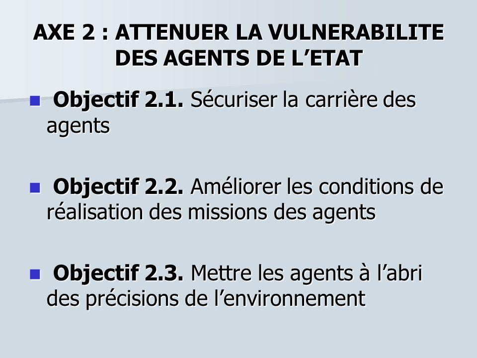 AXE 2 : ATTENUER LA VULNERABILITE DES AGENTS DE L'ETAT