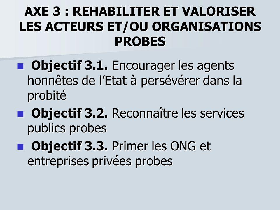 AXE 3 : REHABILITER ET VALORISER LES ACTEURS ET/OU ORGANISATIONS PROBES