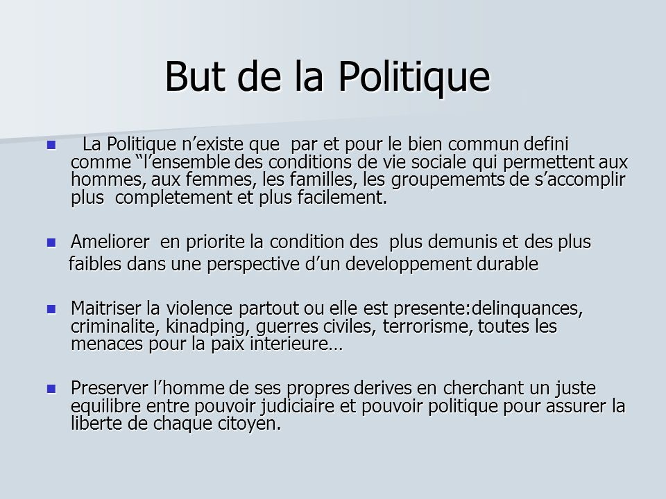 But de la Politique