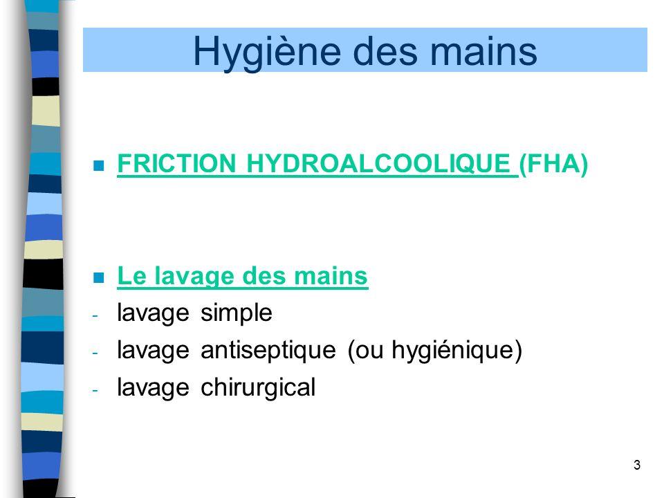 Hygiène des mains FRICTION HYDROALCOOLIQUE (FHA) Le lavage des mains