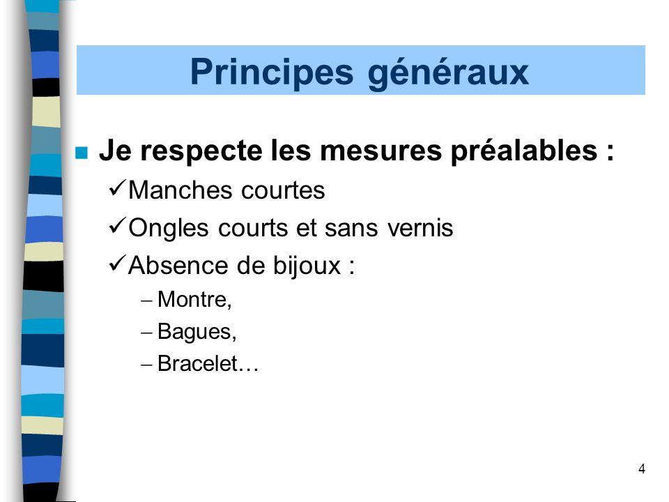 Principes généraux Je respecte les mesures préalables :