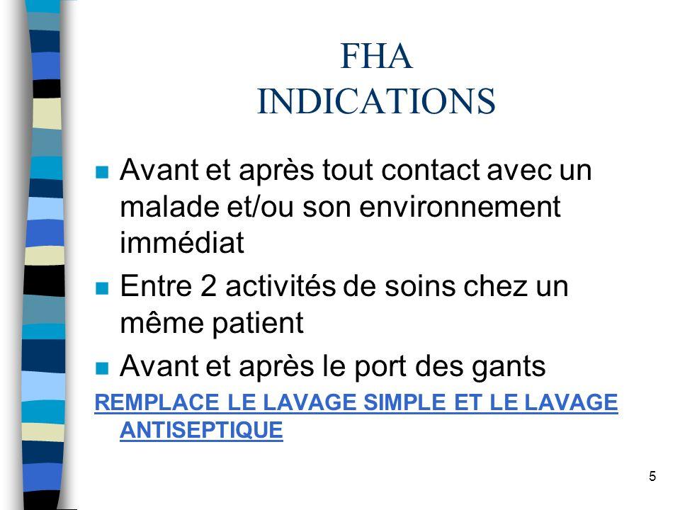 FHA INDICATIONS Avant et après tout contact avec un malade et/ou son environnement immédiat. Entre 2 activités de soins chez un même patient.