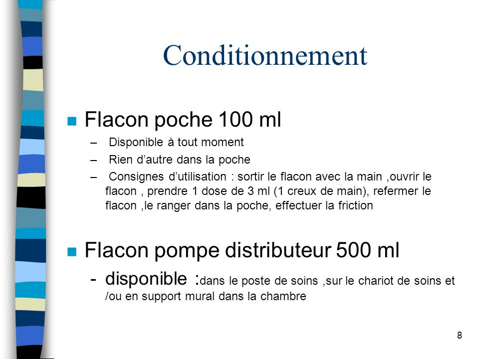 Conditionnement Flacon poche 100 ml Flacon pompe distributeur 500 ml