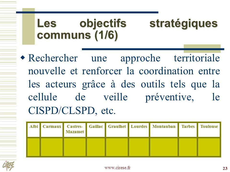Les objectifs stratégiques communs (1/6)
