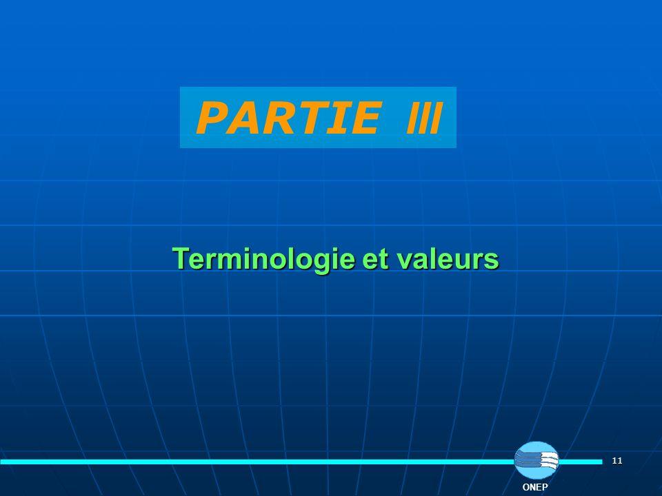 Terminologie et valeurs