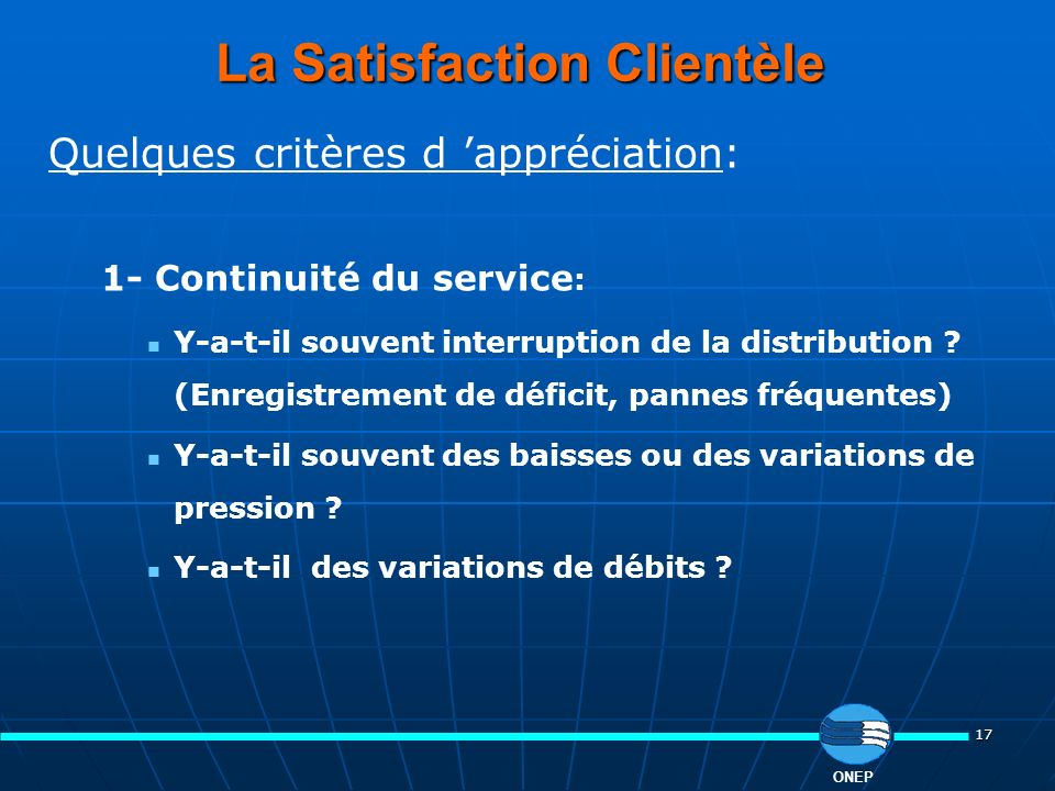 La Satisfaction Clientèle