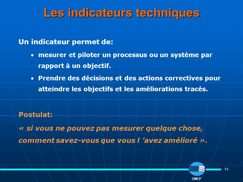 Les indicateurs techniques
