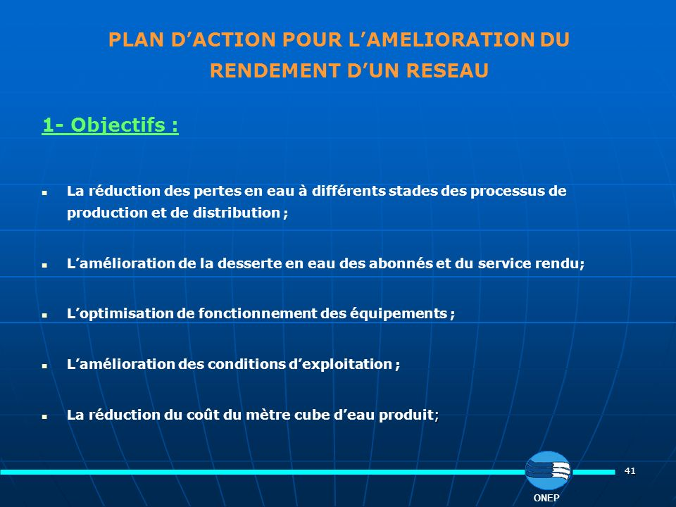 PLAN D'ACTION POUR L'AMELIORATION DU RENDEMENT D'UN RESEAU