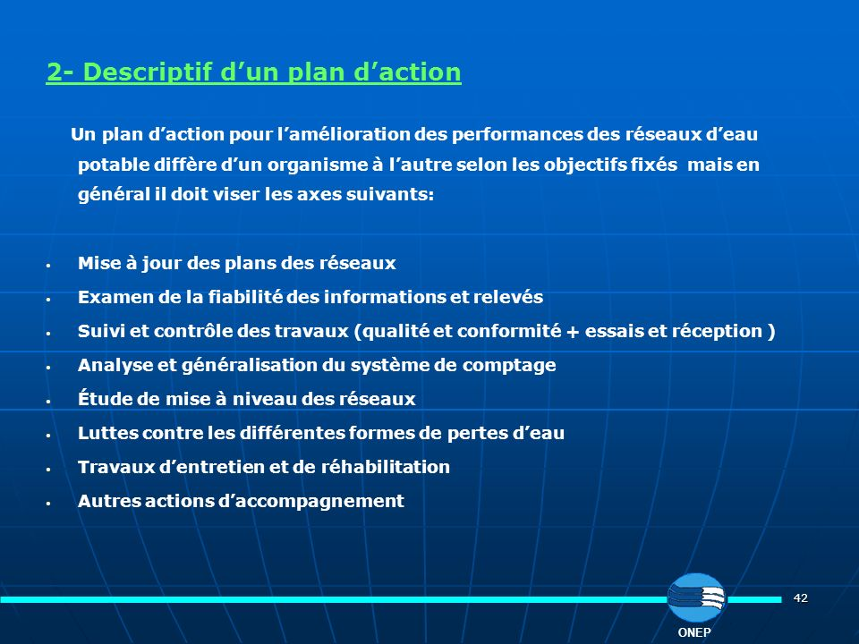 2- Descriptif d'un plan d'action
